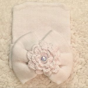 Other - .Newborn Girl Hospital White Beanie with Pearl!.